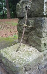 Wooden cross at the park
